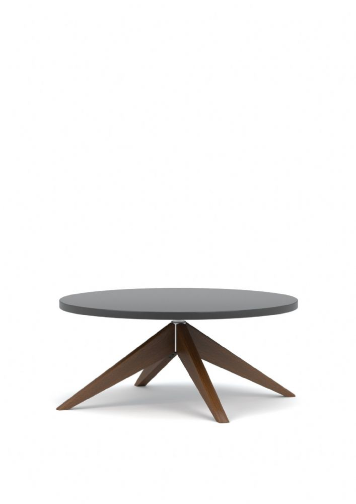 Pledge Lark Wooden Coffee Table With Round Top And Wooden Leg Frame 800mm
